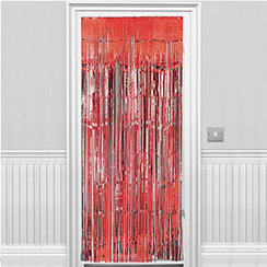 Metallic Door Curtain - Red - 2.4m
