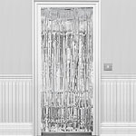 Silver Metallic Fringed Door Curtain - 2.4m