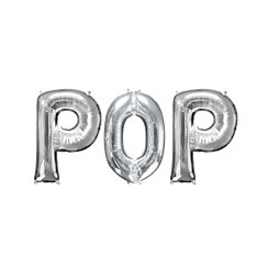"'POP' Silver Balloon Kit - 34"" Foil"