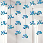 Happy Birthday Blue Hanging Strings Decoration - 1.5m