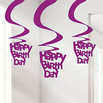 Happy Birthday Pink Hanging Swirls Decoration - 61cm