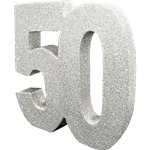 Age 50 Silver Glitter Table Decoration - 20cm
