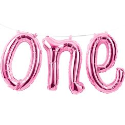 "Age One Pink Phrase Balloon Bunting - 12"" Foil"