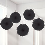 Black Hanging Fan Decorations - 15.2cm