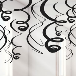 Black Hanging Swirl Decorations - 55cm