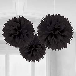 Black Pom Pom Decorations - 40cm