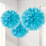 Turquoise Pom Pom Decorations - 40cm