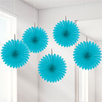 Turquoise Paper Fan Decorations - 15cm