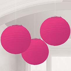 Bright Pink Paper Lantern Decorations - 24cm