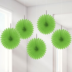 Green Hanging Fan Decorations - 15.2cm