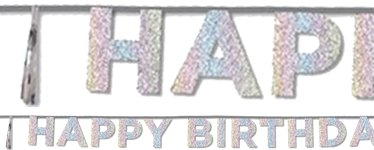 Happy Birthday Iridescent Glitter Letter Banner - 3m