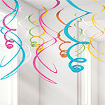 Multi-coloured Hanging Swirl Decorations - 55cm