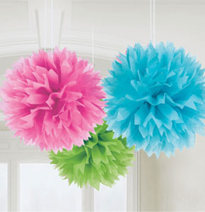 Multi Coloured Pom Poms - 40cm