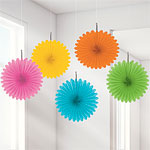 Multi Hanging Fan Decorations - 15.2cm