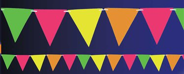 Neon Paper Pennant Banner - 4.5m
