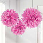 Pink Pom Pom Decorations - 40cm