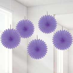 Purple Paper Fan Decorations - 15cm