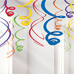 Rainbow Hanging Swirls Decoration - 55cm