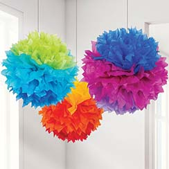 Rainbow Pom Pom Decorations - 40cm