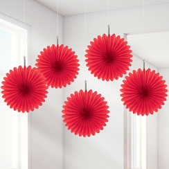 Red Paper Fan Decorations - 15cm