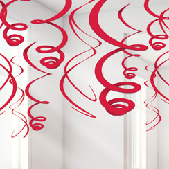 Red Hanging Swirl Decorations - 55cm