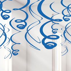 Royal Blue Hanging Swirl Decorations - 55cm