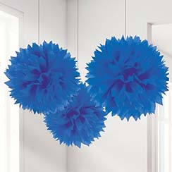 Royal Blue Pom Pom Decorations - 40cm