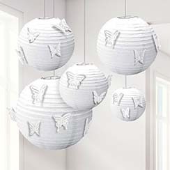 White Paper Lanterns with Butterfly Attachments