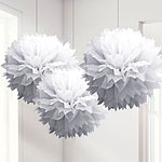 White Pom Pom Decorations - 40cm