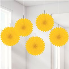 Yellow Hanging Fan Decorations - 15.2cm