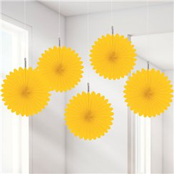 Yellow Paper Fan Decorations - 15cm