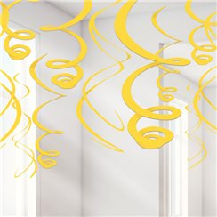 Yellow Hanging Swirl Decorations - 55cm