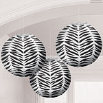 Zebra Paper Lantern Decorations - 24cm