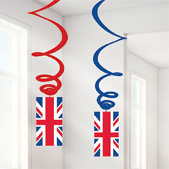 Union Jack Hanging Swirls - 55cm Party Decorations