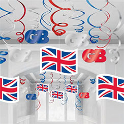 Union Jack Hanging Swirls - Party Decorations