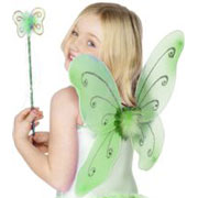 Green Glitter Fairy Wings and Wand Fancy Dress