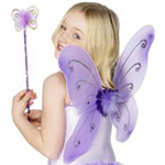 Children's Purple Glitter Fairy Wings & Wand - 41cm