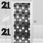 21st Black/Silver Door Curtain - 2m