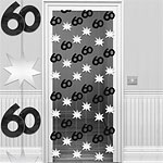 60th Black/Silver Door Curtain - 1.95m