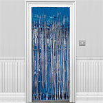 Blue Metallic Fringed Door Curtain - 2.4m