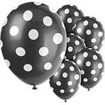 "Black Decorative Polka Dots Balloons - 12"" Latex"