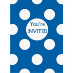 Blue Polka Dot Invites - Party Invitation Cards