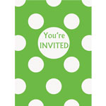 Green Polka Dot Invites - Party Invitation Cards