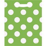 Green Polka Dot Plastic Party Bags - 18cm