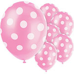 "Pink Decorative Polka Dots Balloons - 12"" Latex"