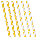 Yellow Polka Dot Paper Straws