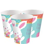 Hippity Hop Easter Bunny Cups - 255ml Paper Party Cups