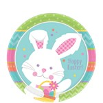 Hippity Hop Easter Bunny Plates - 17cm Paper Party Plates