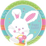 Hippy Hop Easter Bunny Plates - 23cm Paper Party Plates