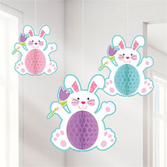 Honeycomb Easter Bunnies - 35cm Easter Decoration